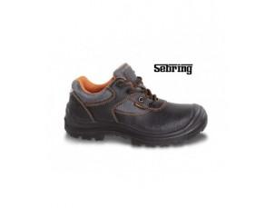 scarpe in pelle idrorepellente con inserti in nylon, copripuntale di rinforzo in poliuretano ed inserto rifrangente sul tallone